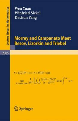 Morrey and Campanato Meet Besov, Lizorkin and Triebel - Lecture Notes in Mathematics 2005 (Paperback)