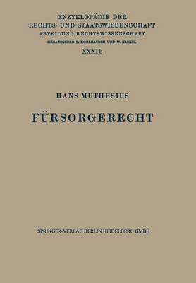 F rsorgerecht - Enzyklopadie Der Rechts- und Staatswissenschaft 31 (Paperback)