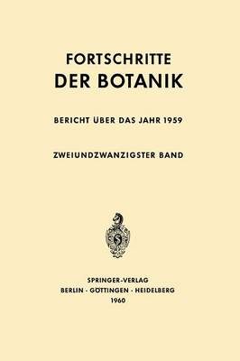 Bericht �ber Das Jahr 1959 - Progress in Botany 22 (Paperback)