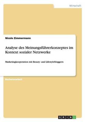 Analyse Des Meinungsf hrerkonzeptes Im Kontext Sozialer Netzwerke (Paperback)