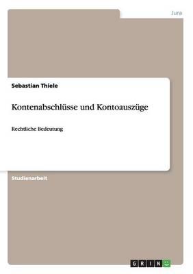 Kontenabschlusse Und Kontoauszuge (Paperback)