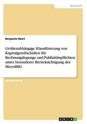 Gr enabh ngige Klassifizierung Von Kapitalgesellschaften F r Rechnungslegungs- Und Publizit tspflichten Unter Besonderer Ber cksichtigung Des Microbilg (Paperback)