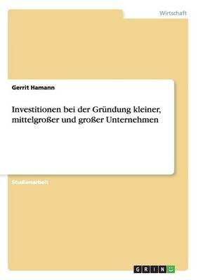Investitionen Bei Der Grundung Kleiner, Mittelgrosser Und Grosser Unternehmen (Paperback)