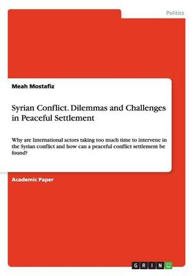 Syrian Conflict. Dilemmas and Challenges in Peaceful Settlement (Paperback)