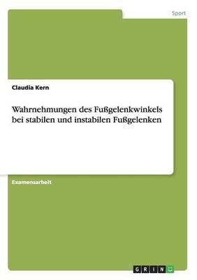 Wahrnehmungen Des Fugelenkwinkels Bei Stabilen Und Instabilen Fugelenken (Paperback)