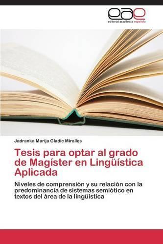 Tesis Para Optar Al Grado de Magister En Linguistica Aplicada (Paperback)