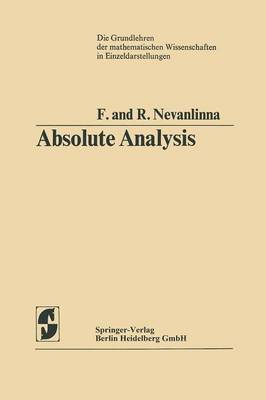 Absolute Analysis - Grundlehren der mathematischen Wissenschaften 102 (Paperback)
