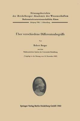 ber Verschiedene Differentenbegriffe - Sitzungsberichte Der Heidelberger Akademie Der Wissenschafte 1960/61 / (Paperback)