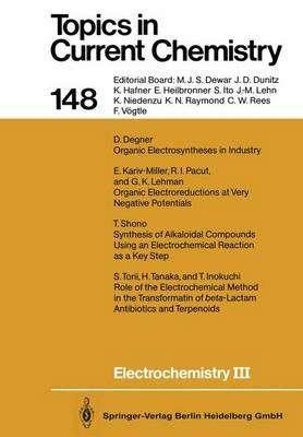 Electrochemistry III - Topics in Current Chemistry 148 (Paperback)
