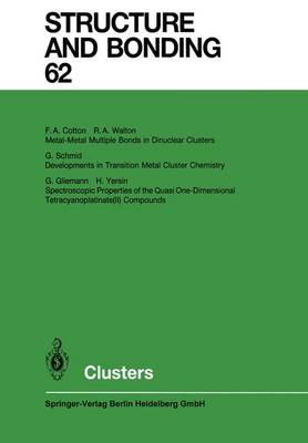 Clusters - Structure and Bonding 62 (Paperback)