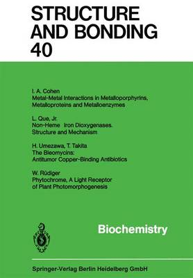 Biochemistry - Structure and Bonding 20 (Paperback)