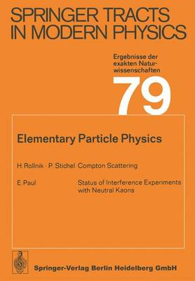 Elementary Particle Physics - Springer Tracts in Modern Physics 79 (Paperback)