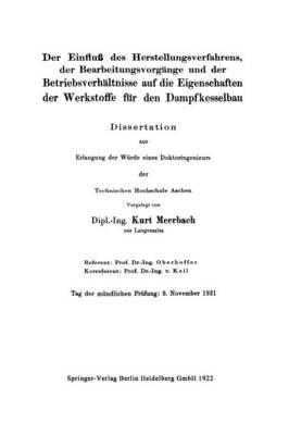 Der Einflu� Des Herstellungsverfahrens, Der Bearbeitungsvorgï...