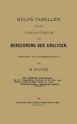 H lfs-Tabellen F r Das Laboratorium Zur Berechnung Der Analysen: Berechnet Und Zusammengestellt (Paperback)