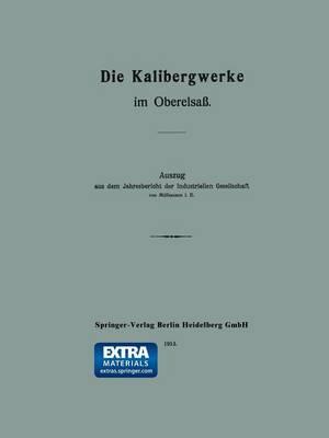 Die Kalibergwerke Im Oberelsa: Auszug Aus Dem Jahresbericht Der Industriellen Gesellschaft Von M lhausen i. e. (Paperback)