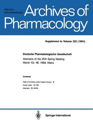 Deutsche Pharmakologische Gesellschaft (Paperback)