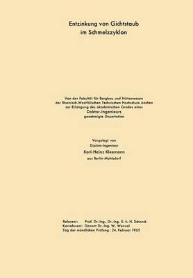 Entzinkung Von Gichtstaub Im Schmelzzyklon (Paperback)