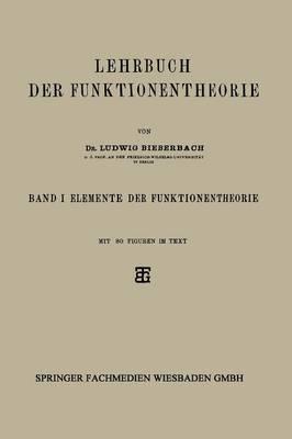 Lehrbuch Der Funktionentheorie: Band I: Elemente Der Funktionentheorie (Paperback)