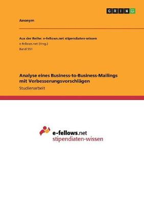 Analyse Eines Business-To-Business-Mailings Mit Verbesserungsvorschlagen (Paperback)