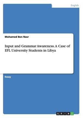 Input and Grammar Awareness. a Case of Efl University Students in Libya (Paperback)