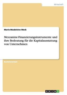 Mezzanine-Finanzierungsinstrumente Und Ihre Bedeutung F r Die Kapitalausstattung Von Unternehmen (Paperback)