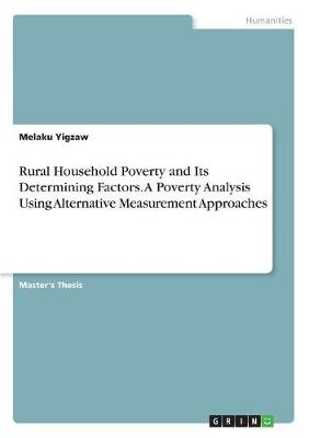 Rural Household Poverty and Its Determining Factors. a Poverty Analysis Using Alternative Measurement Approaches (Paperback)