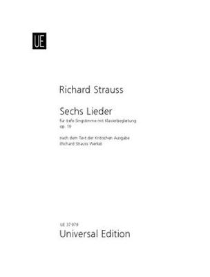 Sechs Lieder aus 'Lottosblatter' Op 19: for low voice and piano (Sheet music)