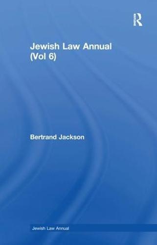 Jewish Law Annual (Vol 6) - Jewish Law Annual 6 (Hardback)