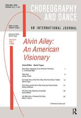 Alvin Ailey: An American Visionary - Choreography and Dance Studies Series (Paperback)