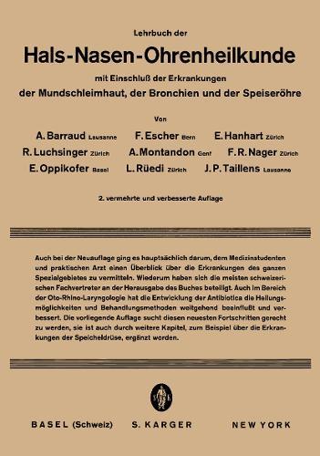 Lehrbuch der Hals-, Nasen-, Ohrenheilkunde: Mit Einschluss der Erkrankungen der Mundschleimhaut, der Bronchien und der Speiseroehre. (Paperback)