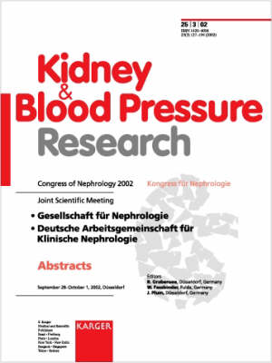 Congress of Nephrology 2002: Joint Scientific Meeting: Gesellschaft fur Nephrologie, Deutsche Arbeitsgemeinschaft fur Klinische Nephrologie, Dusseldorf, September-October 2002: Abstracts. Special Topic Issue: Kidney and Blood Pressure Research 2002, Vol. 25, No. 3 (Paperback)
