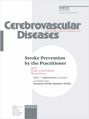 Stroke Prevention by the Practitioner: Supplement Issue: Cerebrovascular Diseases 2003, Vol. 15, Suppl. 2 (Paperback)