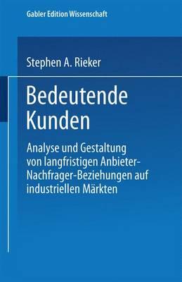 Bedeutende Kunden: Analyse Und Gestaltung Von Langfristigen Anbieter-Nachfrager-Beziehungen Auf Industriellen M rkten (Paperback)