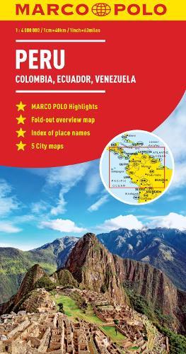 Peru, Colombia, Venezuela Map: Ecuador, Guyana, Suriname - Marco Polo Maps (Sheet map, folded)