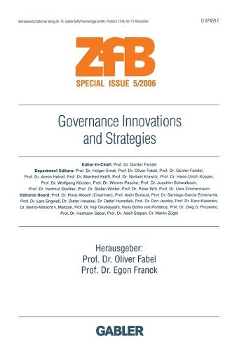 Governance Innovations and Strategies - ZFB Special Issue (Paperback)
