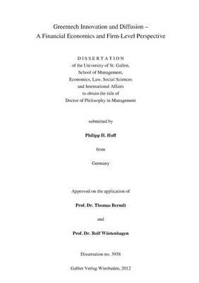 Greentech Innovation and Diffusion: A Financial Economics and Firm-Level Perspective - Schriften zum europaischen Management (Paperback)