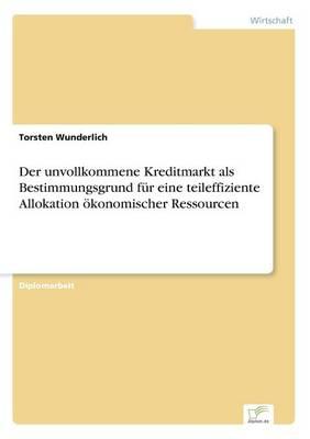 Der unvollkommene Kreditmarkt als Bestimmungsgrund fur eine teileffiziente Allokation oekonomischer Ressourcen (Paperback)