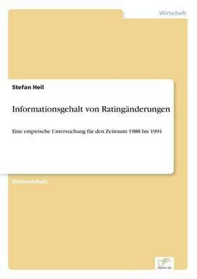 Informationsgehalt Von Rating nderungen (Paperback)