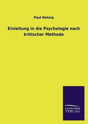 Einleitung in Die Psychologie Nach Kritischer Methode (Paperback)