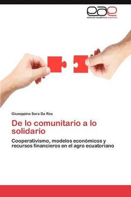 de Lo Comunitario a Lo Solidario (Paperback)