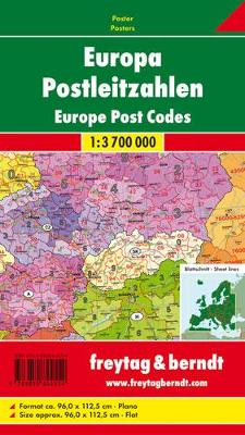 Europe Post Codes Map Flat in a Tube 1:3 700 000 (Sheet map, folded)