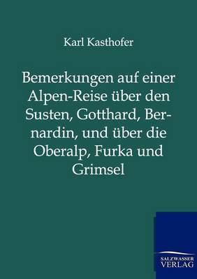 Bemerkungen Auf Einer Alpen-Reise Uber Den Susten, Gotthard, Bernardin, Und Uber Die Oberalp, Furka Und Grimsel (Paperback)