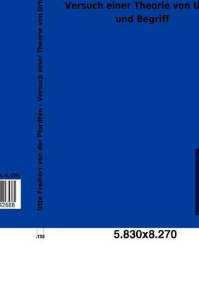 Versuch Einer Theorie Von Urteil Und Begriff (Paperback)