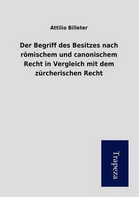Der Begriff Des Besitzes Nach Romischem Und Canonischem Recht in Vergleich Mit Dem Zurcherischen Recht (Paperback)