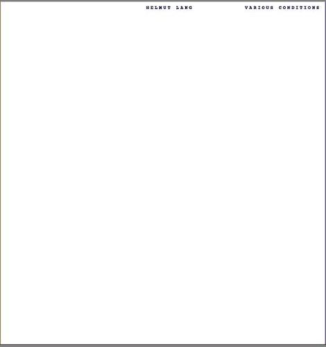 Helmut Lang: Various Conditions (Paperback)