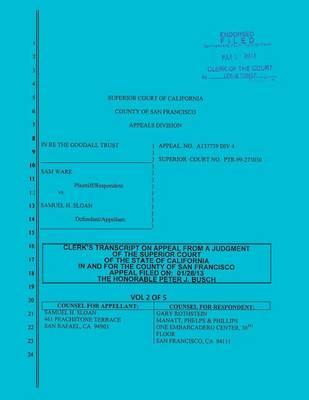 Sloan vs. Ware and Bank of America Clerk's Transcript on Appeal Vol. 2 (Paperback)