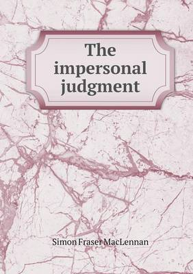 The Impersonal Judgment (Paperback)
