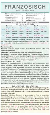 Franzosisch: Kurzgrammatik