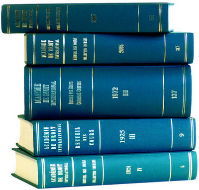 Recueil des cours, Collected Courses, Tome/Volume 177 (1982) - Collected Courses of The Hague Academy of International Law - Recueil des cours 177 (Hardback)