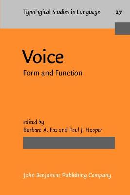 Voice: Form and Function - Typological Studies in Language 27 (Paperback)